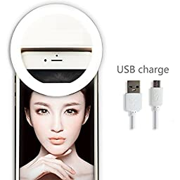GreenElec Rechargable Battery Clip-on Cellphone Selfie Ring Light for iPhone 7/7 Plus/6s/6 plus, Galaxy S8/S8 Plus/S7/S7 Edge/S6/S6 Edge, Galaxy Note, Motorola, HTC, LG, Sony, ZTE, Huawei and more