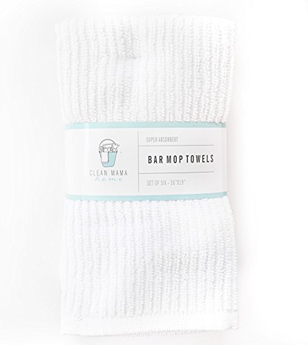 CLEAN MAMA Bar Mop Cleaning Towels, White, Set of 6, 100% Cotton Kitchen Utility Towels