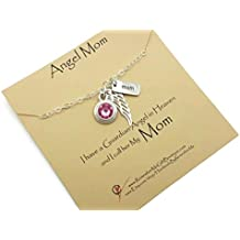 Memorial Necklace, Loss of Mom, Sympathy Gifts, Lg Sterling Silver Angel Wing, Birthstone, Mom Pendant