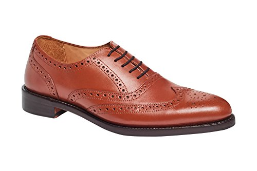 Carlos by Carlos Santana Mens Mission Wingtip Brogue Shoes in Goodyear Welted Construction Tan Full Grain Calfskin Leather 44ypLYB4d