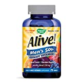 Nature's Way Alive! Men's 50+ Premium Gummy Multivitamin, Fruit and Veggie Blend (150mg per serving), Full B Vitamin Complex, Gluten Free, Made with Pectin, 75 Gummies