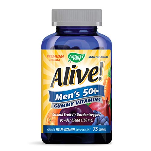 - Nature's Way Alive! Men's 50+ Premium Gummy Multivitamin, Fruit and Veggie Blend (150mg per serving), Full B Vitamin Complex, Gluten Free, Made with Pectin, 75 Gummies