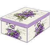 Kanguru Collection Fragrant Violet Decorative Storage Box with Handles and Lid, 42 x 32 x 17.5 cm, Multi-Colour