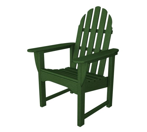 - POLYWOOD Outdoor Furniture Classic Andironack Dining Chair, Green-Recycled Plastic Materials