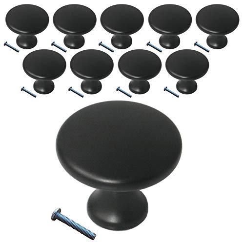 (10 Pack, Knob) Swiss Kelly Matte Black Kitchen Cabinet Pull Drawer Handle Knob Hardware
