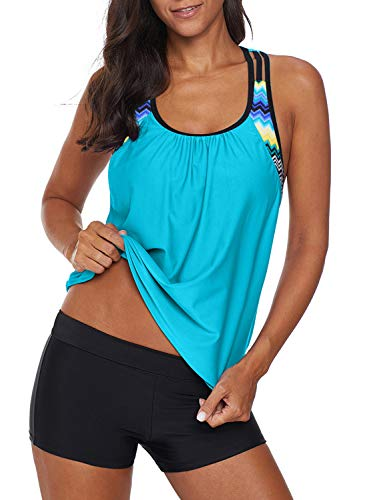 Women's 2 Pieces Blouson Stripe Printed Tankini Top Sets with Boyshort Swimsuits Swimwear X-Large 14 16 Green