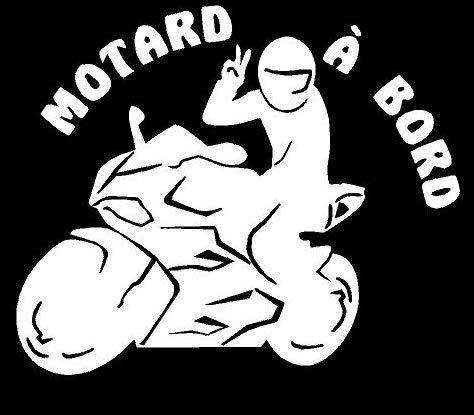 Blanc Stickers Motard /à Bord