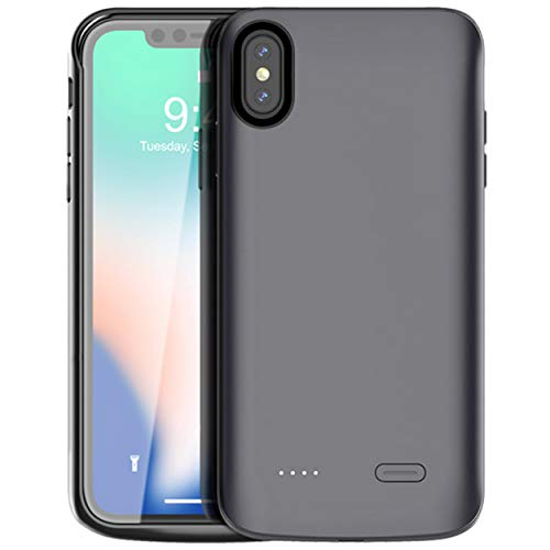 iPhone Xs Max Battery Case,Vocalol 6000mAh Portable Charger Case Power Bank Rechargeable Extended Battery Pack Protective Backup Charging Case Cover for Apple iPhone Xs Max(6.5inch). (Black)