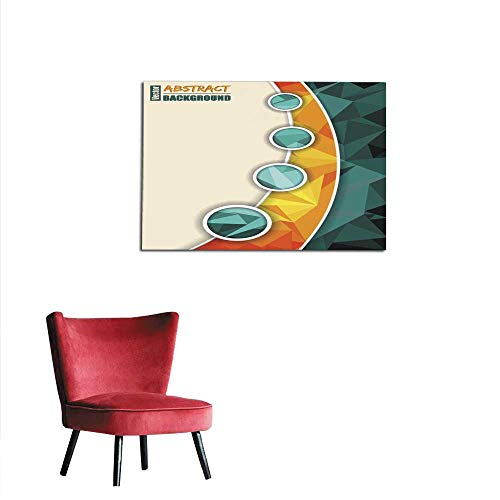 (homehot Photographic Wallpaper Abstract Turquoise brochure with Orange Transparent Stripe Mural 48
