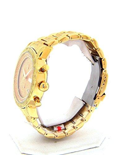 d7761f8bdc5 JOJINO 1.05ct Real Diamond Watch Mens Deluxe Gold Tone Case Diamond ...