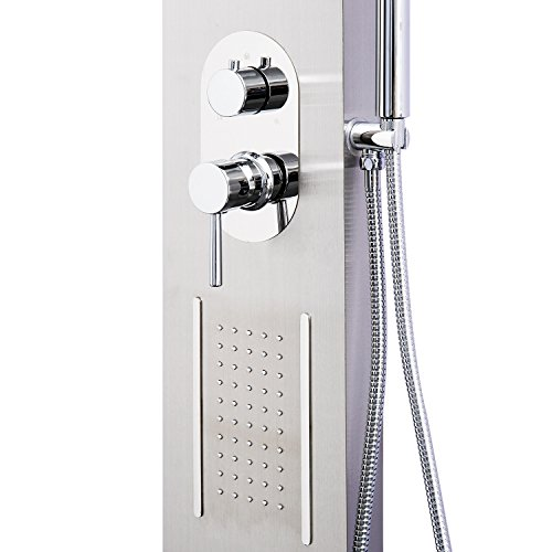 HomCom 59'' Stainless Steel Wall Mount Multi Stage Rain Waterfall & Massage Thermostatic Luxury Shower Tower Panel by HOMCOM (Image #7)
