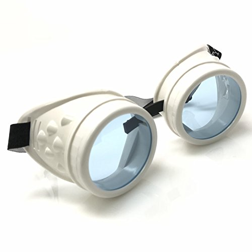UV Glow in The Dark Steampunk Rave Goggles Meme Glasses- Willy Wonka Costume Neon Blue]()