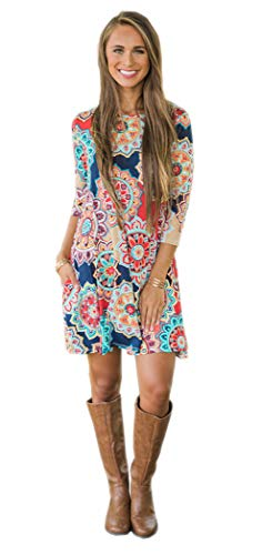 Floral Summer Boho Casual Damask Beach Women Loose Shift Tshirt Blue1 Sleeveless Dresses for Pockets Swing Navy rqOXUwq0