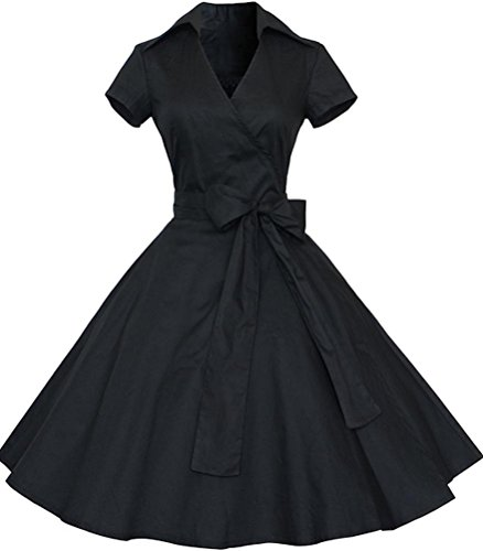 Ayli Women's V Neck Short Sleeve 1950s Vintage Retro Midi Swing Black Dress, - Fashion Women 1950