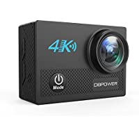 DBPOWER 4K Action Camera, 20MP 1080P WiFi Sports Cam Ultra HD 98ft Underwater DV Camcorder 170° Wide Viewing Angle with 2.0' LCD Screen, Including 2 Rechargeable Batteries and Full Accessories Kits