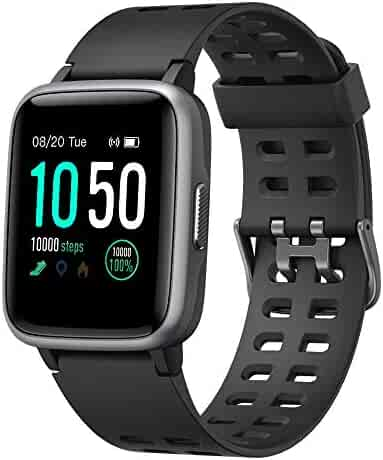 YAMAY Smart Watch for Android and iOS Phone IP68 Waterproof, Fitness Tracker Watch with Heart Rate Monitor Step Sleep Tracker, Smartwatch Compatible with iPhone Samsung, Watch for Men Women Black
