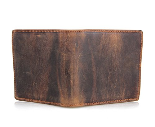 HRS Genuine Leather Wallet Bifold Distressed Wallets for Men Italian Wallet Handmade with RFID Blocking (brown) by HRS (Image #2)