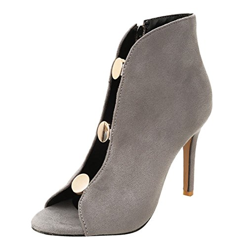 Mee Shoes Women's Chic Zip Stiletto Sandals Grey O254vRJ