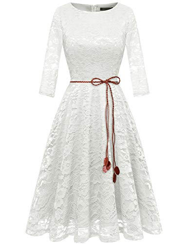 Bridesmay Women's 3/4 Sleeve Flare Floral Lace Swing Cocktail Party Bridesmaid Dress White M -