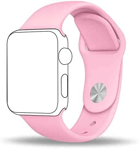 Apple Watch Band, ZRO Soft Silicone Sport Band Replacement Wrist Strap for Apple iWatch Series 2/ Series 1 38mm M/L, Light Pink