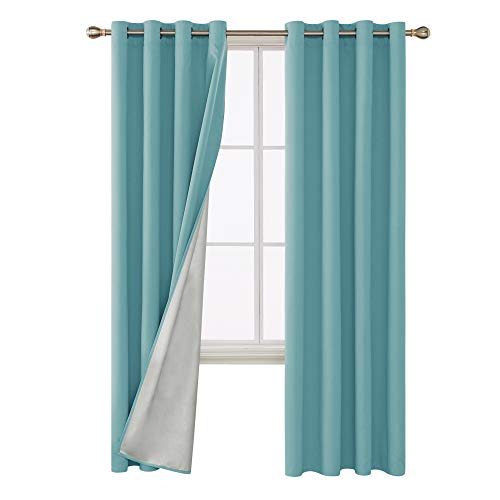 Deconovo Thermal Insulated Blackout Curtains Grommet Top Light Blocking Drapes with Silver Back Coating for Sliding Glass Doors 52 by 95 Inch Light Blue Set of 2 Panels (Blue Chocolate Drapes And)