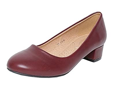 SHU CRAZY Womens Ladies Faux Leather Slip On Low Block Heel Mary Jane Pumps Court Shoes K79