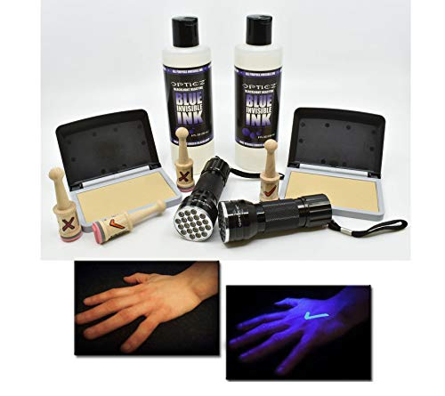 - Opticz UV Blacklight Reactive Invisible Blue Ink Hand Stamping Document Marking Security Kit (Pro Kit)