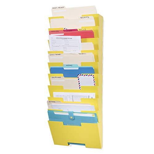 Wallniture Lisbon Wall File Holder Organizer - 10 Tier Modular Stackable Design - Wall Hanging File Folders Letter Size - Multi-Purpose Magazine Rack Wall Mounted Display, Metal Steel, Yellow