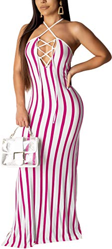 (Women's Casual Spaghetti Strape Drawstring Strechable Cocktail Dress Sexy Sleeveless Stripes Long Maxi Floor Length Clubwear Comfy Tie Back)