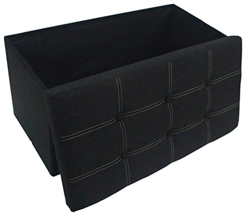 Premium Black Linen Folding Ottoman Foot Rest Stool Seat Footrest Shoe Storage Organizer Versatile Space-saving Bench - 30