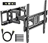 TV Wall Mount Bracket fits to Most 32-55 inch LED,LCD,OLED Flat Panel&Curved TVs, Full Motion Swivel Dual Articulating Arms Extension Tilt Rotation, Bring Perfect Viewing Angle, Max VESA 400X