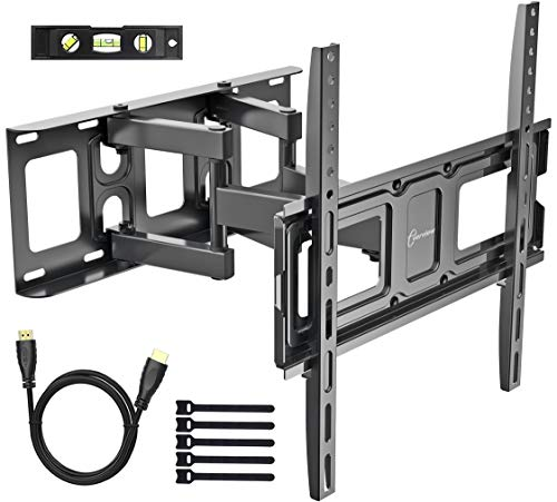 (EVERVIEW TV Wall Mount Bracket fits to Most 32-55 inch LED,LCD,OLED Flat Panel&Curved TVs, Full Motion Swivel Dual Articulating Arms Extension Tilt Rotation, Max VESA 400X400mm and Holds up to 99lbs)