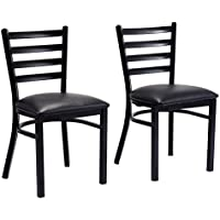 Giantex Set of 2 Metal Dining Chairs Upholstered Home Kitchen Side Chair Furniture
