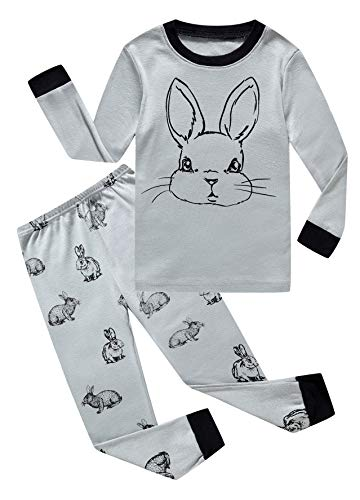 Little Boys Girls Rabbit Easter Pajamas 100% Cotton Grey Pjs Clothes Kid - Easter Clothes