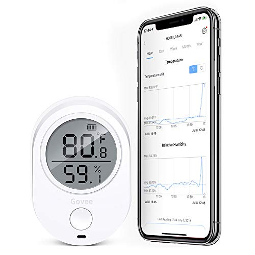 - Govee Bluetooth Temperature Humidity Monitor, Indoor Thermometer Hygrometer Humidity Gauge, Humidity Temperature Sensor with Alert for Home, House, Garage, Cabin, Refrigerator and Wine (NOT WiFi)