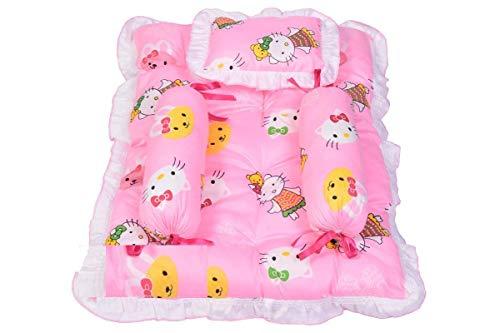 Teri Beri Newborn Baby Bedding Set/Mattress Gaddi Set with Baby Pillow & 2 Side Bolester Set (0-6 Months) (Colours and…
