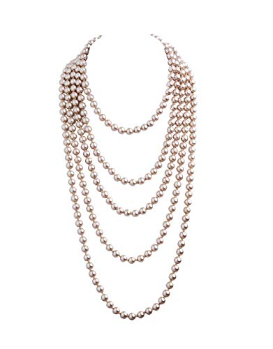 (1920s Pearls Necklace Gatsby Accessories Vintage Costume Jewelry Faux Ivory Pearl Cream Long Necklace for Women (Champagne Gold-1))