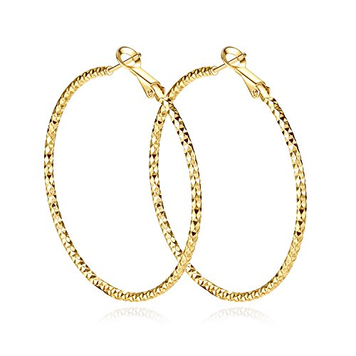 - •Yumay 10K Yellow Gold Plated Large Hoop Earrings for Women,50MM Hypoallergenic Hoop Earrings for girls.