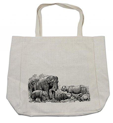 Ambesonne Elephant Shopping Bag, Elephants Rhino Image Wild Safari Animals Vintage Style Print, Eco-Friendly Reusable Bag for Groceries Beach and More, 15.5