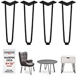 Diy Metal Coffee Table 16 Inch Hairpin Legs - 4 Easy to Install Metal Legs for Furniture - Mid-Century Modern Legs for Coffee and End Tables, Chairs, Home DIY Projects + Bonus Rubber Floor Protectors by INTERESTHING Home
