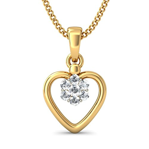 14 K Or jaune 0,15 CT TW Round-cut-diamond (IJ | SI) Pendentif