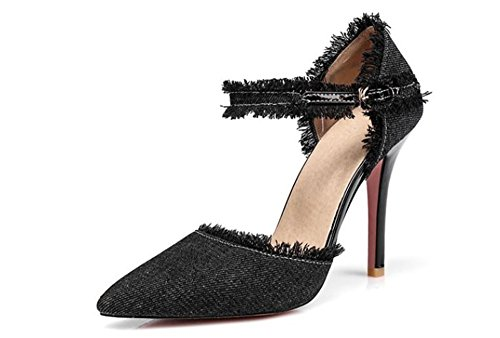 Women Fashion Distressed Denim Open Toe High Heel Pointed Mid Calf Sexy high Heel Shoes(Black41/10 B(M) US - Calf Custom Black Footwear