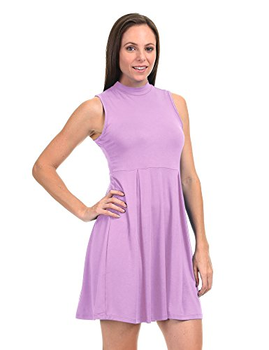 USA Dress California Womens Come Tunic Dye Neck in CTC Mock Tie Together Pullover Made lilac Sleeveless Wdr1074 6PPwxg