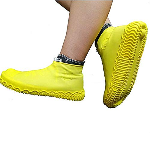 Rain Snow Shoe Covers Boots Waterproof Shoe Cover Silicone Shoe Cover,Unisex Reusable Non Slip Silicone Rubber Shoe Protectors (Medium, Yellow)