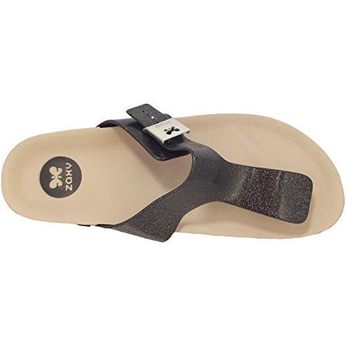 femme Thong Fashion Noir tong Black Sandales Glitter Beige Flat Zaxy qXwEFq