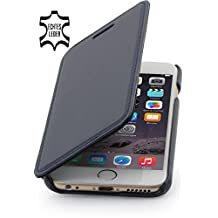 StilGut® Book Type Leather Case without Clip for Apple iPhone 6 (4.7''), Dark Blue - Nappa