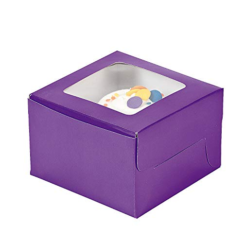 Fun Express - Purple Cupcake Boxes - Party Supplies - Containers & Boxes - Paper Boxes - 12 Pieces]()