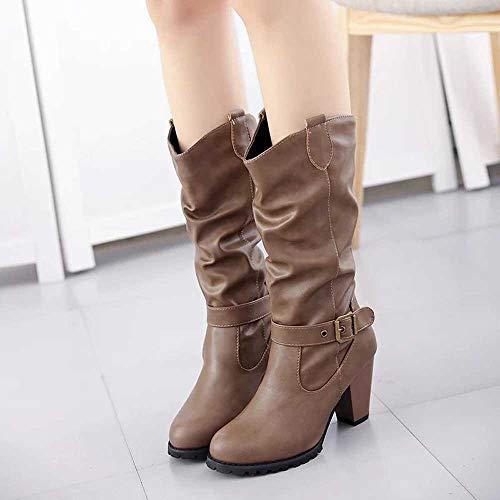 Mujer Moteras Rectos Para De Alta 8 Cuero Casual Botina Hebilla Luckygirls Tacón Caña Moda Marrón Zapatos Zapatillas Botas 5cm H5Sq8w0