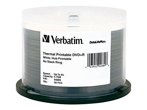 Verbatim DVD+R 4.7GB 8X DataLifePlus White Thermal Printable, Hub Printable 50pk Spindle 94889 by Verbatim