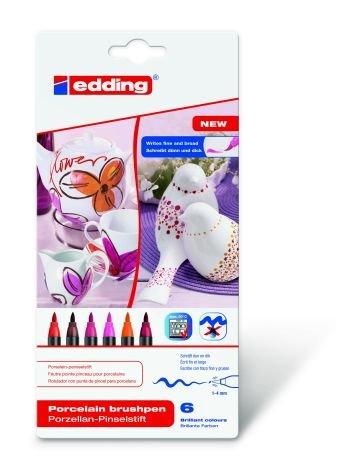 Porzellan-Pinselstift 6er Set Warm Colour Edding Flexible Pinselspitze mit variabler Strichbreite, Verpackungseinheit: 2 Stück